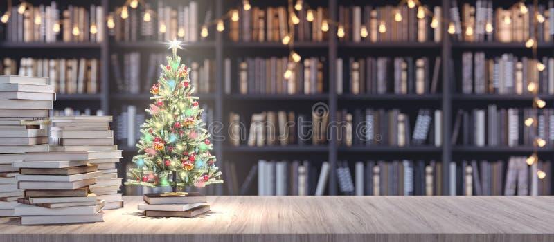 Verdekte kerstboom op boekenplank in de bibliotheek met oude boeken, geven de Vakantie in het concept van de Boekhandel 3d terug vector illustratie