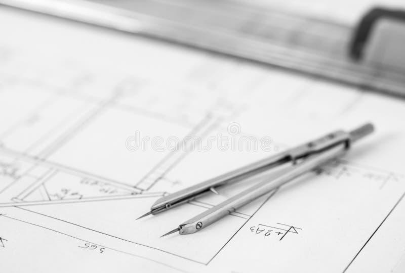 Verdeler op technische tekening stock afbeelding