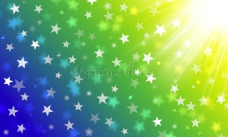 Verdes, amarelo, azul, as cores da bandeira brasileira, bokeh branco das estrelas, comemoram, celebração, carnaval, fundo brilhan ilustração do vetor