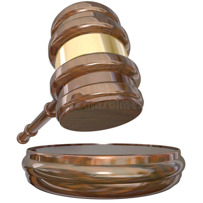 Verdict de procès d'affaire en jugement de Block Gavel Judgment de juge illustration stock