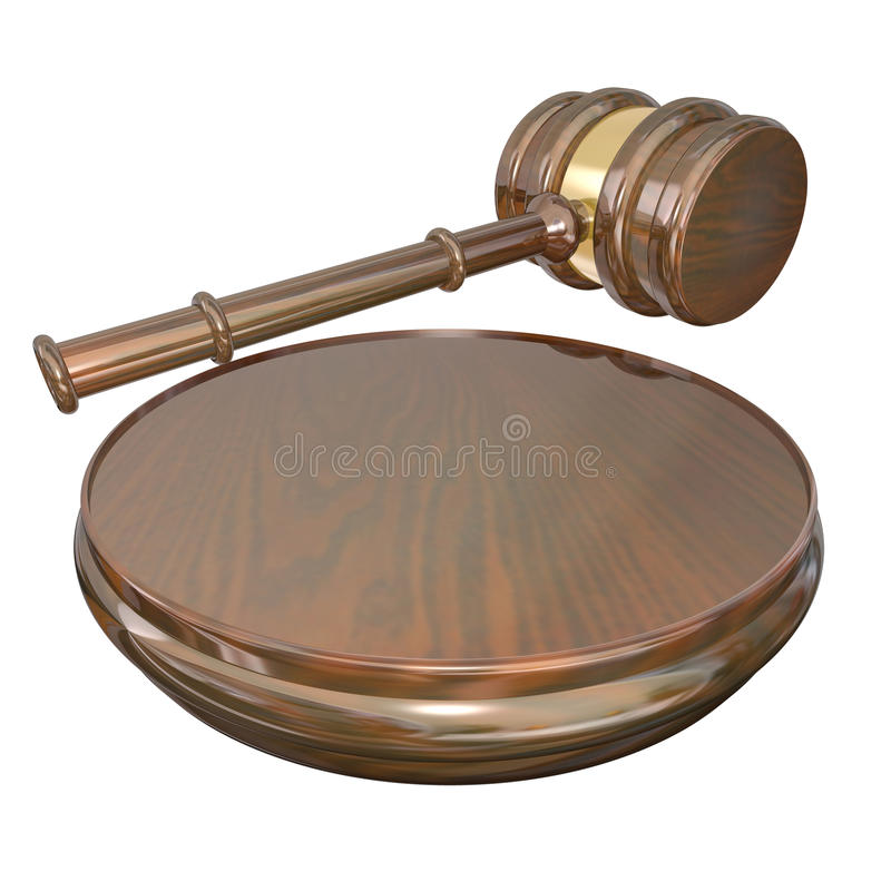 Verdict Judge Gavel Court Lawsuit Case Final Decision. A wooden gavel and block used by a judge to announce a decision or court case verdict or settlement royalty free illustration