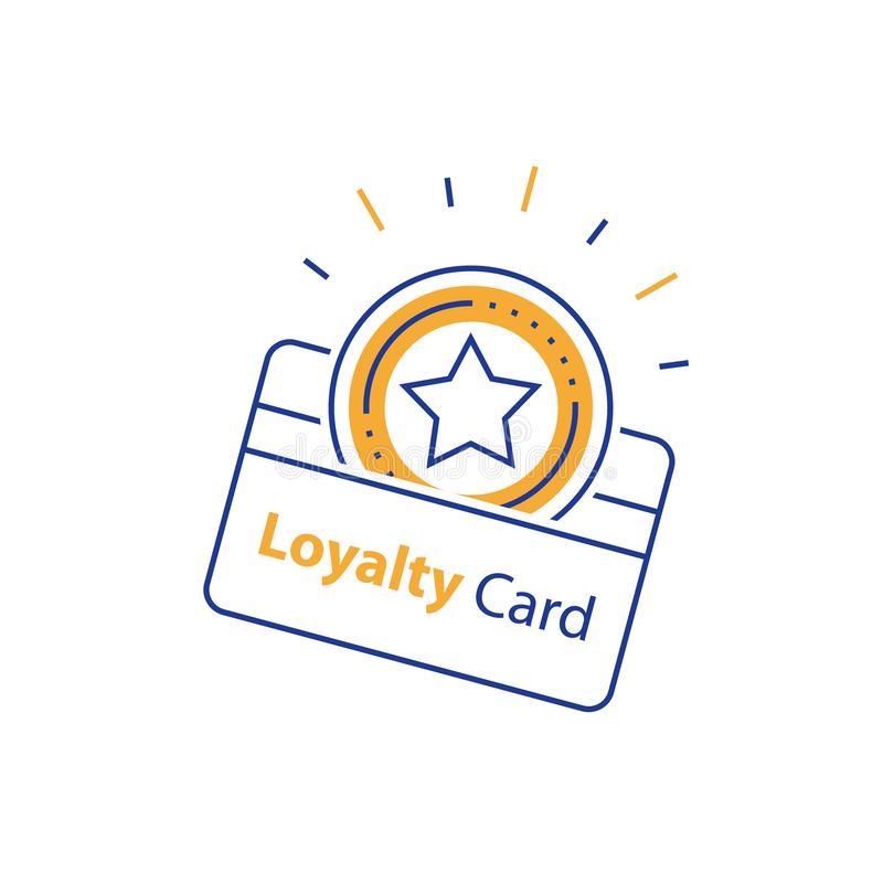Verdien beloning, loyaliteitskaart, aansporingsgift, die bonus, het winkelen extra voordelen, kortingscoupon, lijnpictogram verza stock illustratie