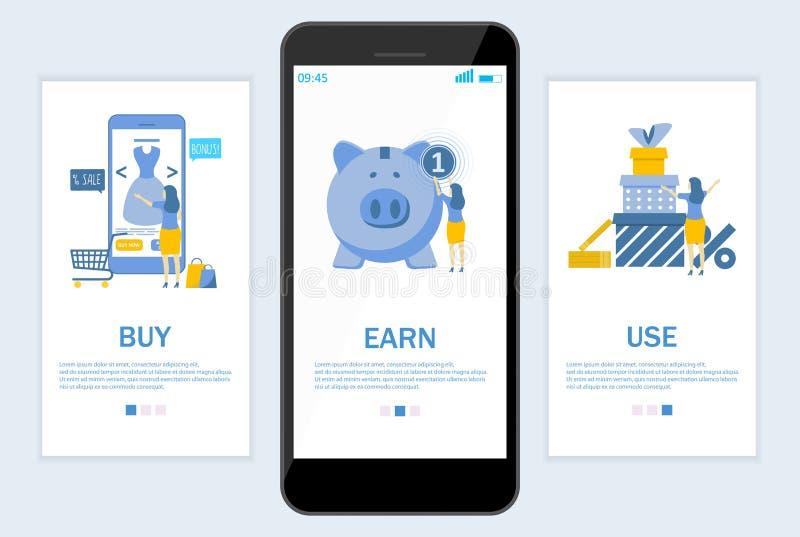 Verdien cashback website en mobiele toepassing onboarding de schermen vectormalplaatje stock illustratie