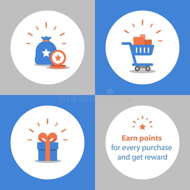 Verdien punten voor aankoop, loyaliteitsprogramma, beloningsconcept, volledig boodschappenwagentje, koop gift terug stock illustratie