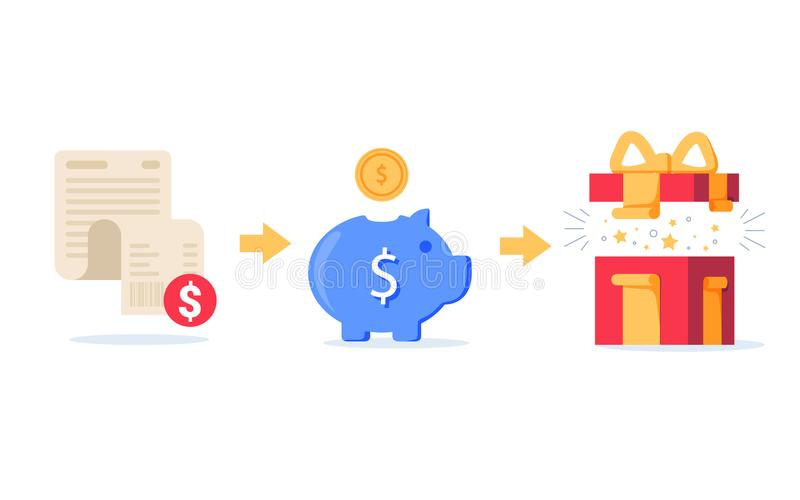 Verdien punten voor aankoopconcept, loyaliteitsprogramma, contant geldrug, marketing en bevordering royalty-vrije illustratie