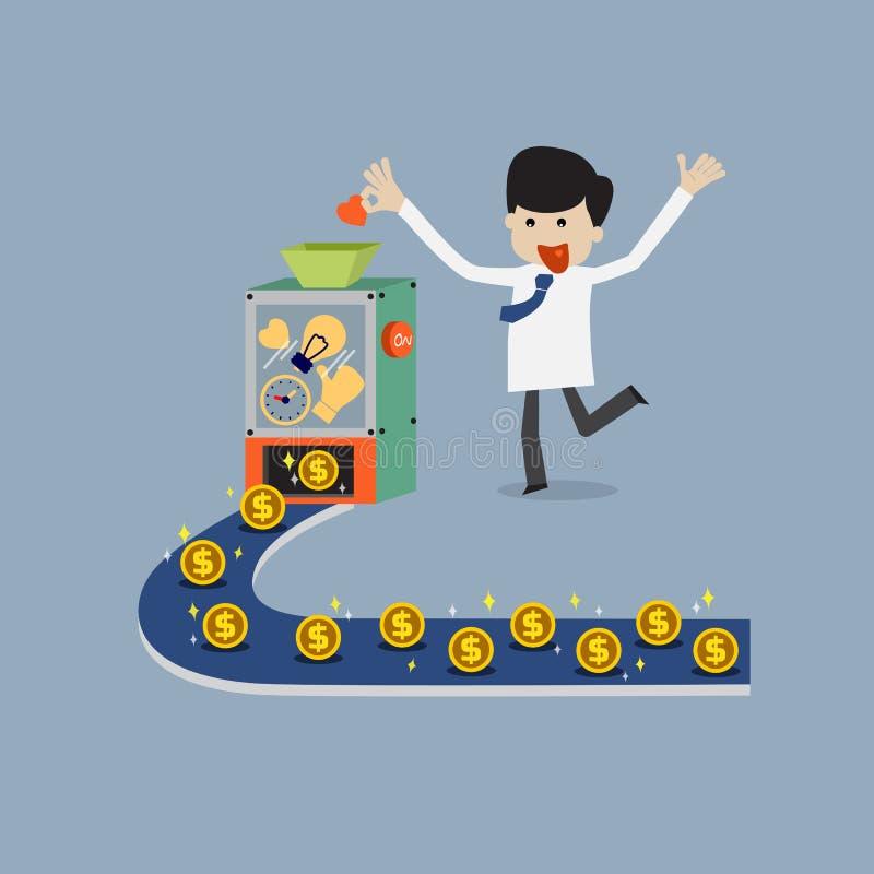 Verdienen des Geldes durch Mischung der Idee, der Zeit, der guten Qualität und des Herzens stock abbildung