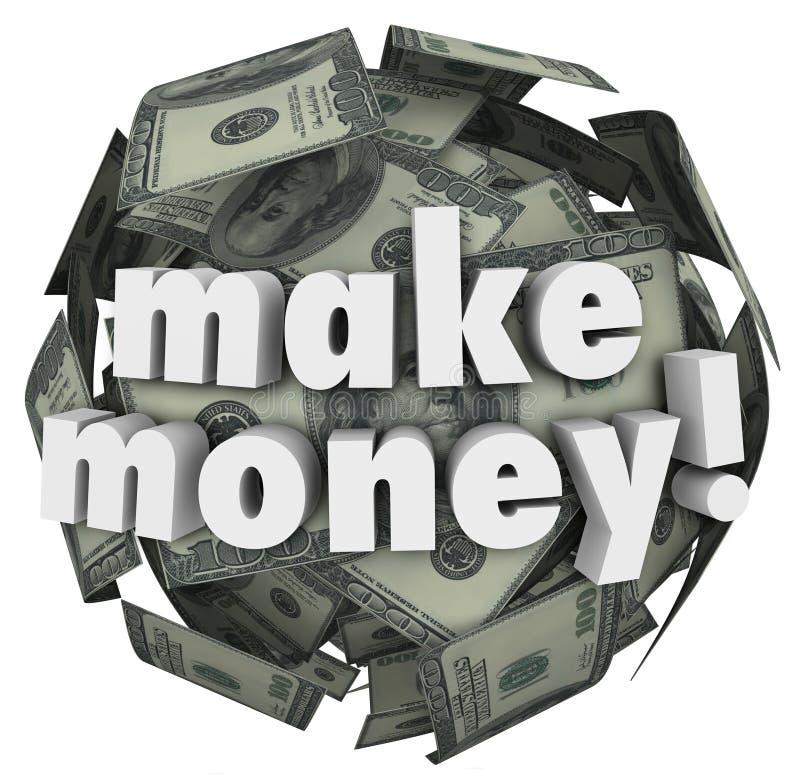 Verdienen Sie Geld, Einkommens-Gewinn-Einkommens-Währungs-Ball zu erwerben vektor abbildung