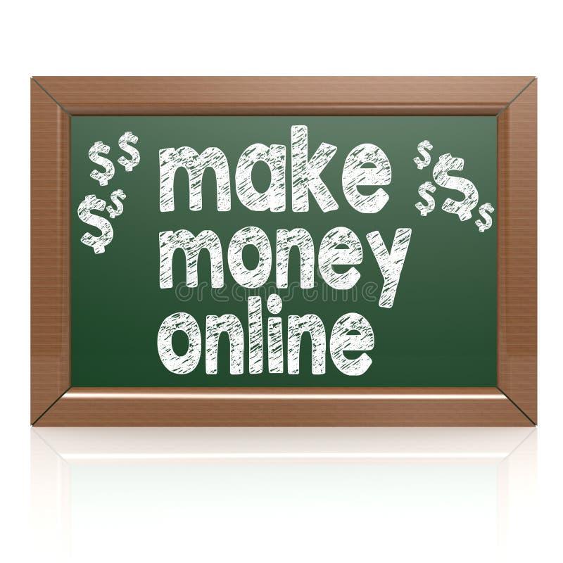 Verdienen Sie Geld on-line auf einer Tafel vektor abbildung