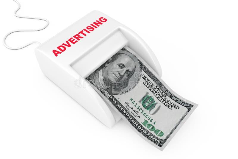 Verdienen Sie Geld mit Werbekonzeption Geldmacher-Werbungs-Maschine mit Dollar-Banknote Wiedergabe 3d stock abbildung