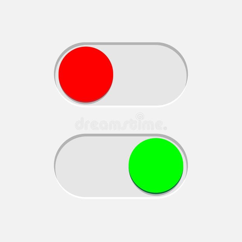 Verdissez dessus et rouge outre des boutons d'inverseur d'isolement sur le fond gris Élément de conception de vecteur illustration stock