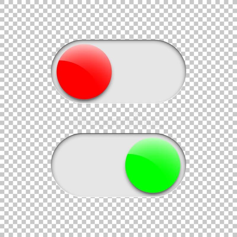 Verdissez dessus et rouge outre des boutons d'inverseur d'isolement sur le fond transparent Élément de conception de vecteur illustration stock