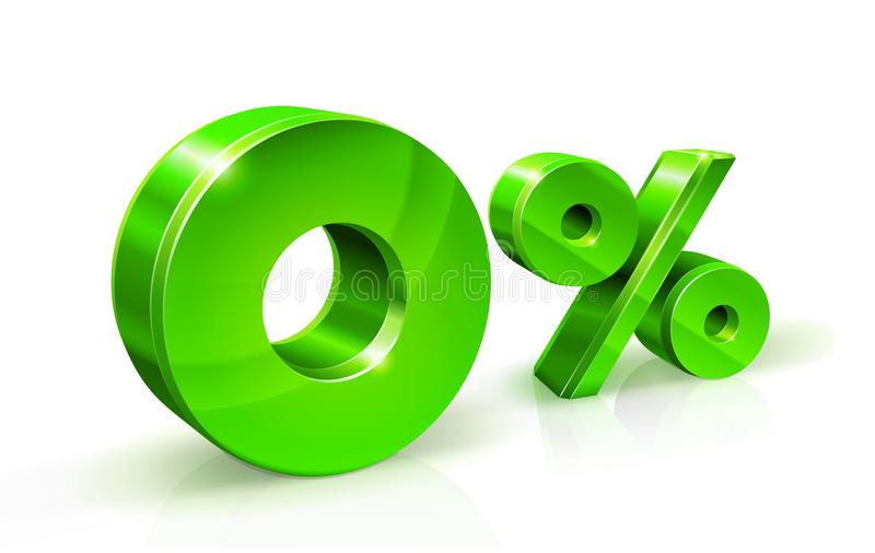Verdissez les pour cent zéro ou 0 d'isolement sur le fond blanc avec la réflexion Taux d'intérêt zéro de pour cent, impôt illustration de vecteur