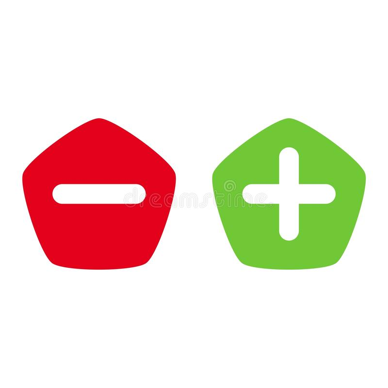 Verdissez plus et rouge sans l'icône plate de vecteur illustration stock