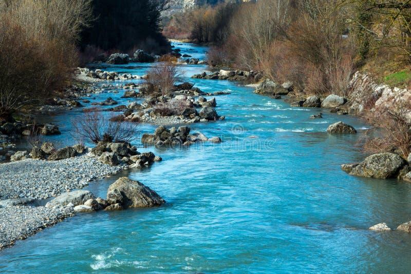 Verdon flod Castellane på rutten Napoléon arkivfoto