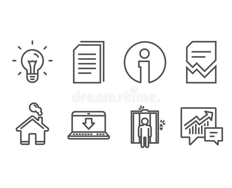 Verdorbene Datei, Ideen- und Aufzugsikonen Internet-Downloading, Kopiendateien und Buchhaltungszeichen lizenzfreie abbildung