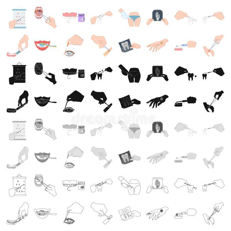 Verdovingsmiddeleninjectie, onderzoek van de tand en ander Webpictogram in beeldverhaalstijl gekronkelde behandeling, de pictogra stock illustratie