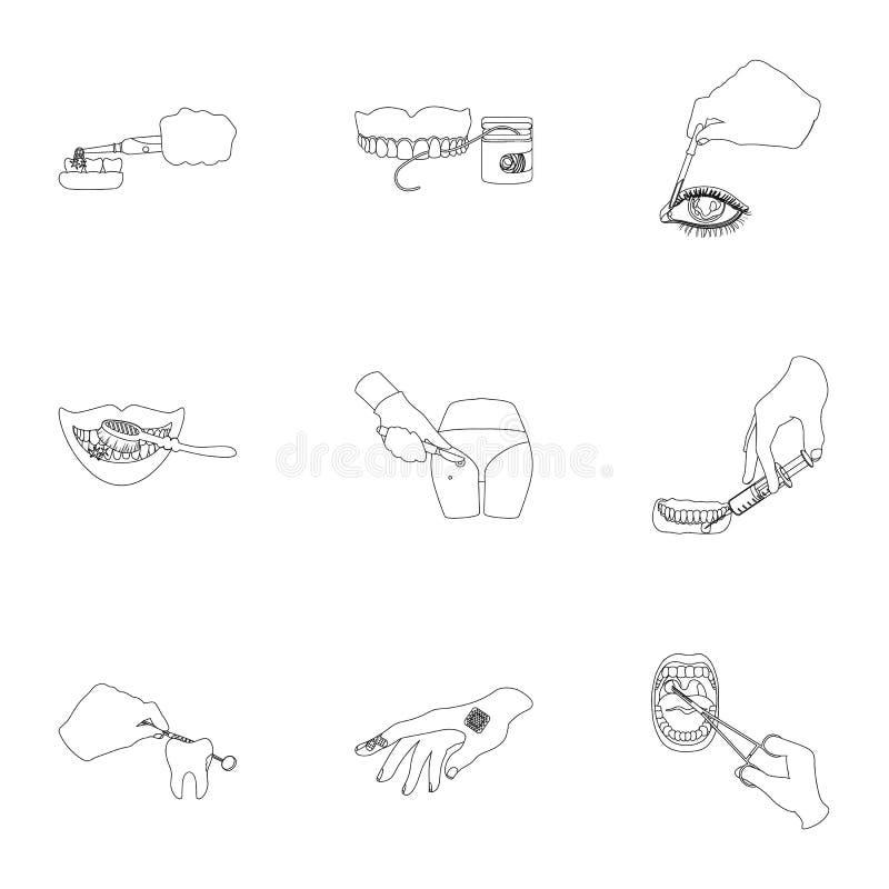 Verdovingsmiddeleninjectie, onderzoek van de tand en ander Webpictogram in overzichtsstijl gekronkelde behandeling, de pictogramm royalty-vrije illustratie