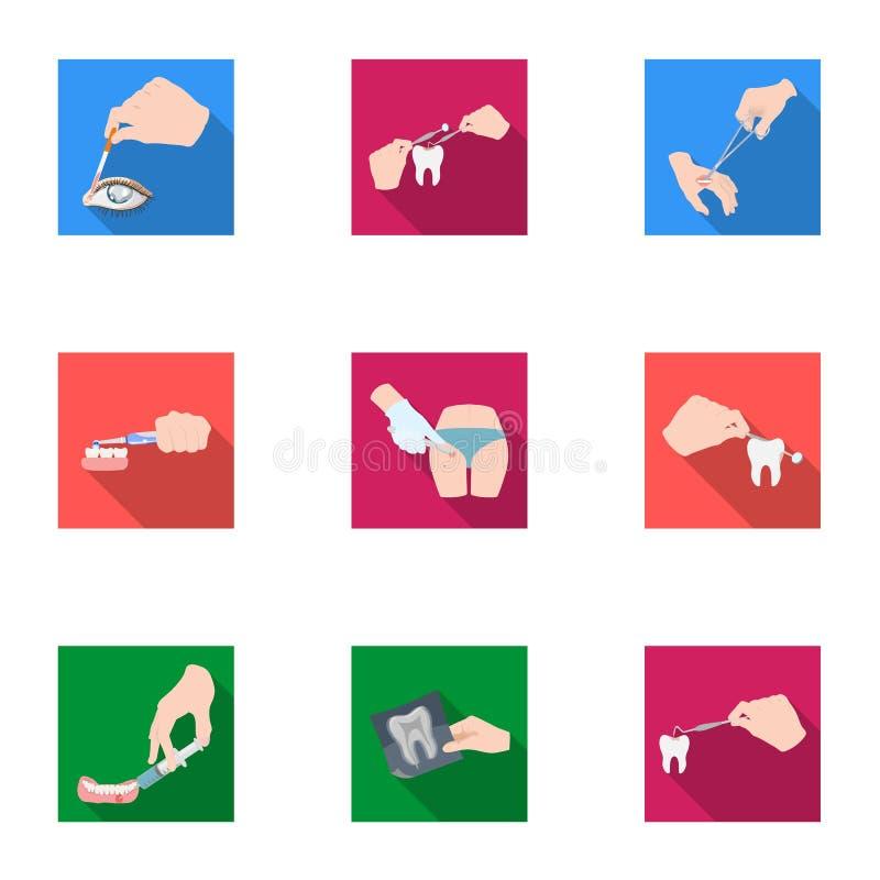 Verdovingsmiddeleninjectie, onderzoek van de tand en ander Webpictogram in vlakke stijl gekronkelde behandeling, de pictogrammen  royalty-vrije illustratie
