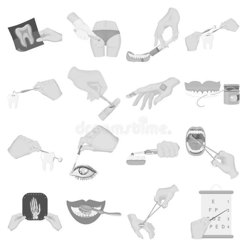 Verdovingsmiddeleninjectie, onderzoek van de tand en ander Webpictogram in zwart-wit stijl gekronkelde behandeling, visiecontrole royalty-vrije illustratie