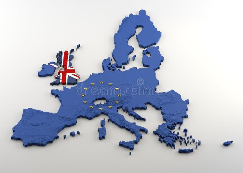 Verdrängte Karte 3D von EU und von Großbritannien lizenzfreie abbildung