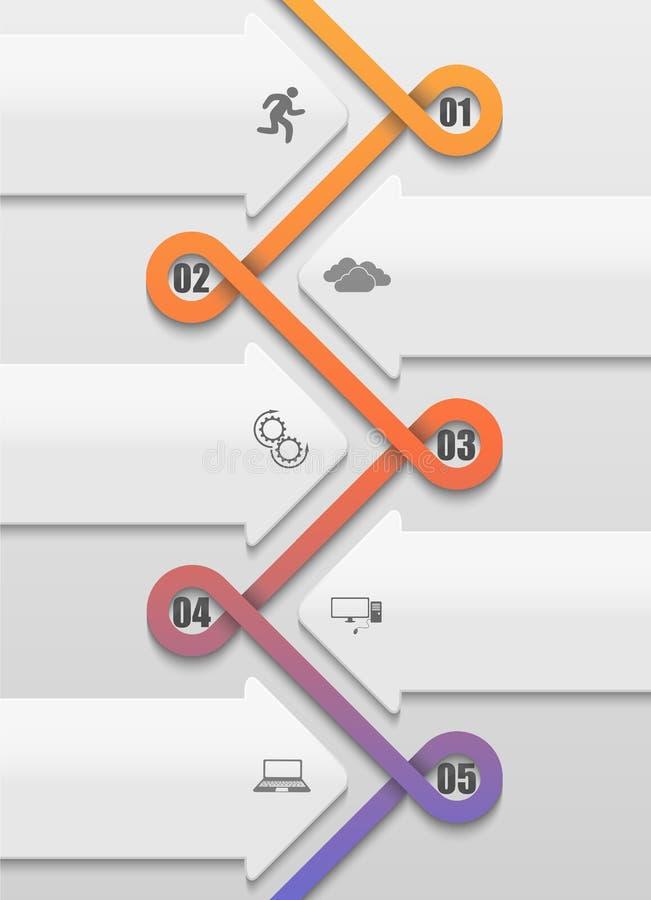 Verdraaid in een infographic chronologie van het lijnpatroon royalty-vrije illustratie