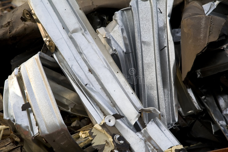 Verdraaid Metaal bij Bouwwerf royalty-vrije stock foto's