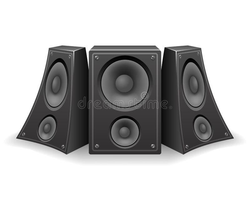 Verdraaide 3d Realistische het Ontwerp Vectorillustratie van de Muziekspreker vector illustratie