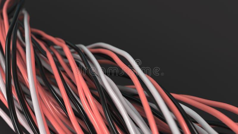 Verdraaide zwarte, witte en rode kabels en draden op zwarte oppervlakte royalty-vrije illustratie