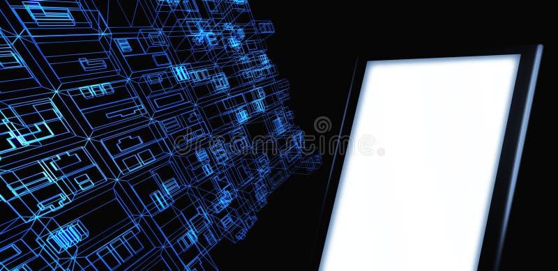 Verdrahten Sie Feldgebäude mit unbelegter Tablette stock abbildung