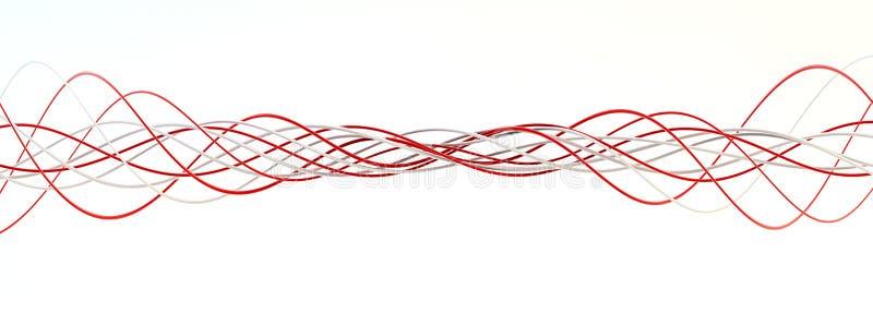 Verdrehen der roten und weißen Zeichenketten lizenzfreie stockbilder