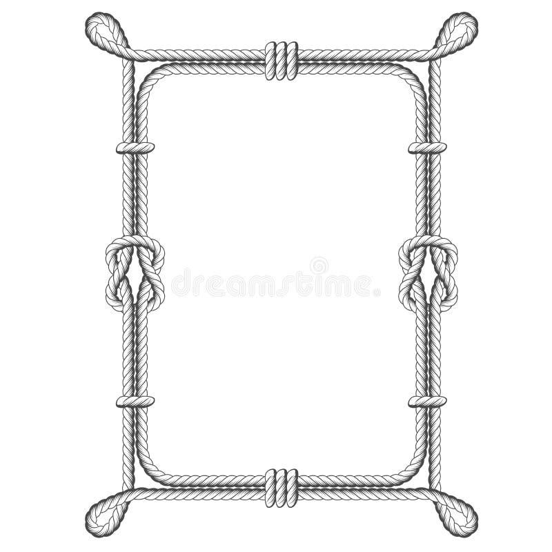 Verdrehte Seilquadratrahmen mit Knoten stock abbildung