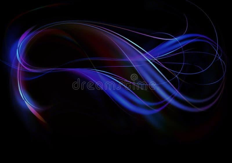 Verdrehte und verflochtene gebogene Ströme von blauen und purpurroten Streifen mit blauen Wellen auf schwarzem Hintergrund vektor abbildung