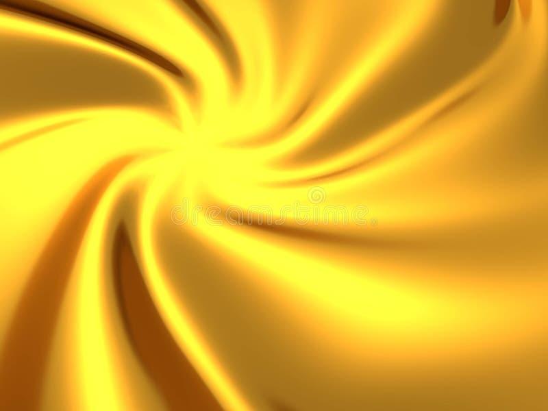 Verdrehter abstrakter Luxushintergrund des goldenen silk Stoffes lizenzfreie abbildung