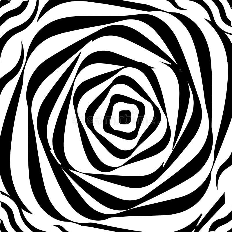 Verdrehter dynamischer Hintergrund Optische Illusion Drehung, Verzerrung, Rotationsbewegungseffekt vektor abbildung