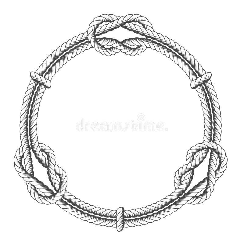Verdrehter Seilkreis - runder Rahmen und Knoten vektor abbildung