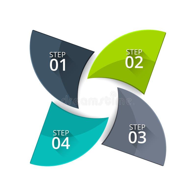 Verdrehtes Diagramm des Vektors für das Geschäft infographic Abstraktes Element des Zyklusdiagramms mit 4 Schritten, Wahlen, Teil lizenzfreie abbildung