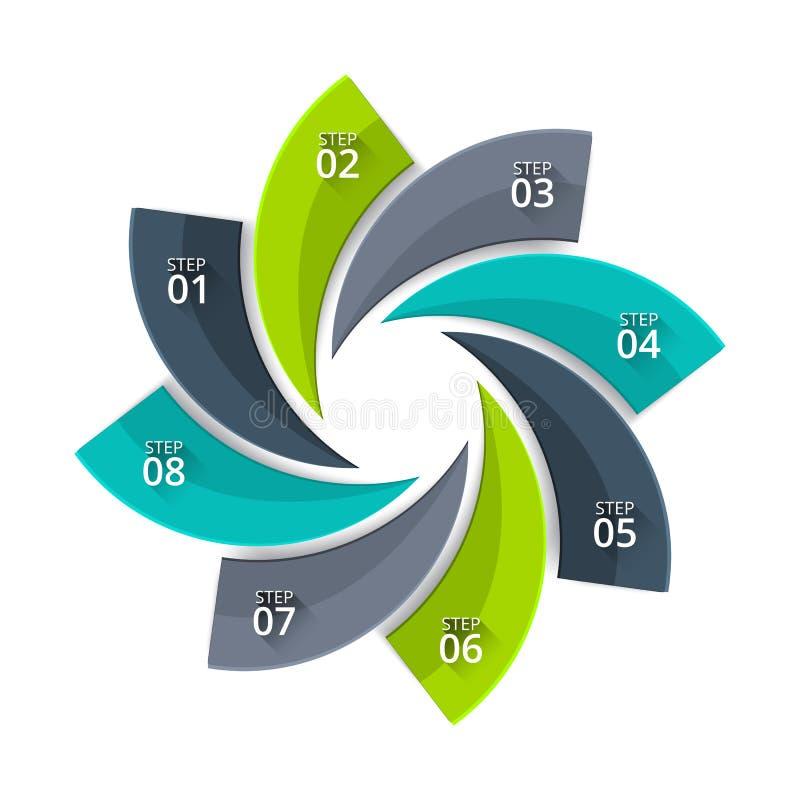 Verdrehtes Diagramm des Vektors für das Geschäft infographic Abstraktes Element des Zyklusdiagramms mit 8 Schritten, Wahlen, Teil vektor abbildung