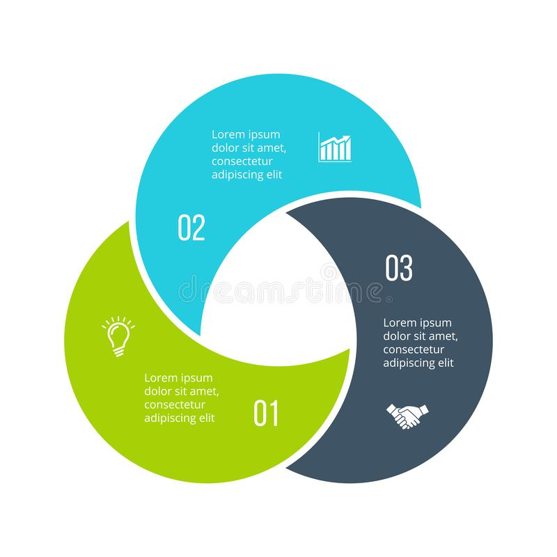 Verdrehtes Diagramm unterteilt in 3 Teile, Schritte oder Wahlen Flache infographic Entwurfsschablone des Vektors Illustration für stock abbildung