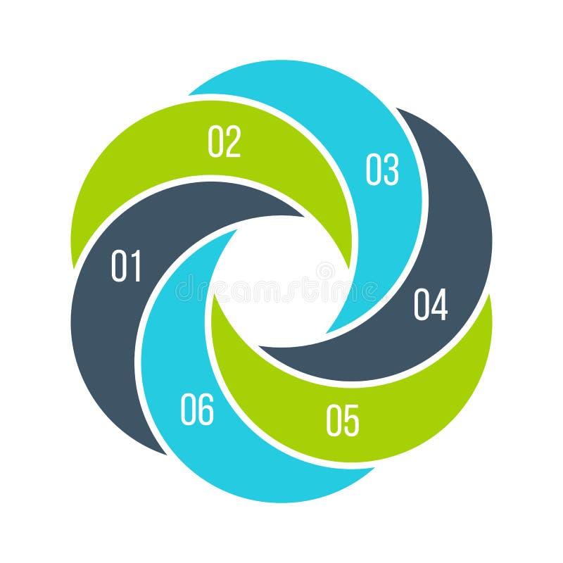 Verdrehtes Diagramm unterteilt in 6 Teile, Schritte oder Wahlen Flache infographic Entwurfsschablone des Vektors Illustration für stock abbildung