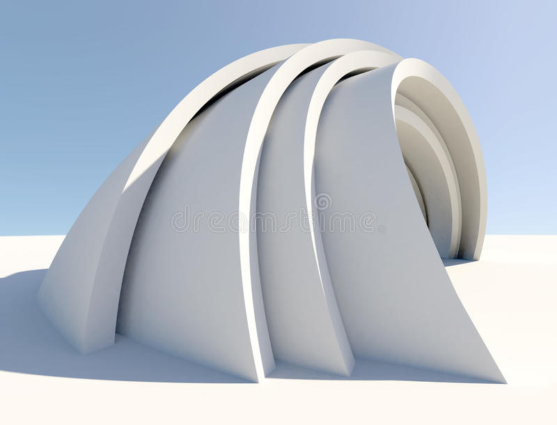 Verdrehtes futuristisches Architekturformular stock abbildung