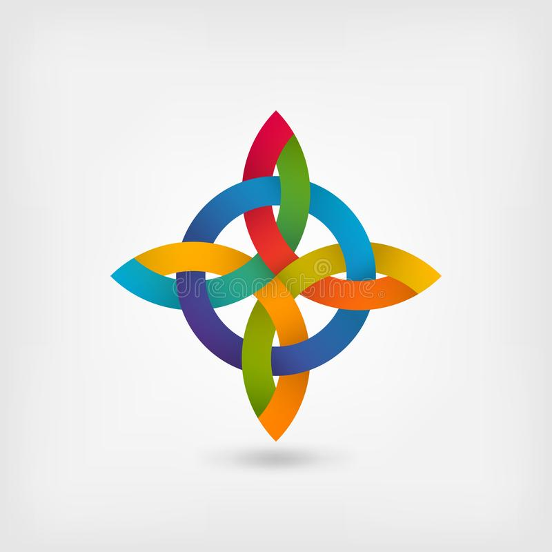 Verdrehtes Symbol der Zusammenfassung in den Steigungsregenbogenfarben stock abbildung