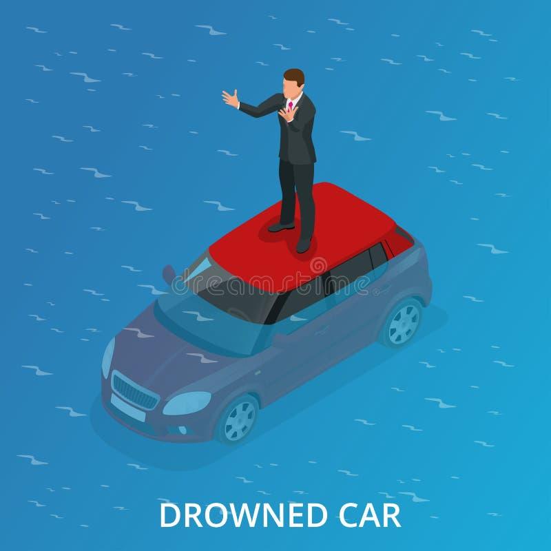 Verdronken auto Een verdronken autoongeval Vlakke 3d Vector isometrische illustratie vector illustratie