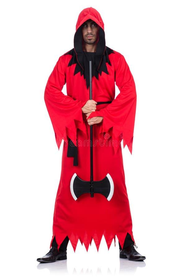 Verdugo en traje rojo con el hacha fotografía de archivo libre de regalías