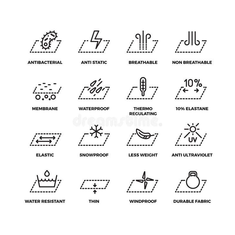 Verdunnen de stoffen textieleigenschappen lijn vectorpictogrammen stock illustratie