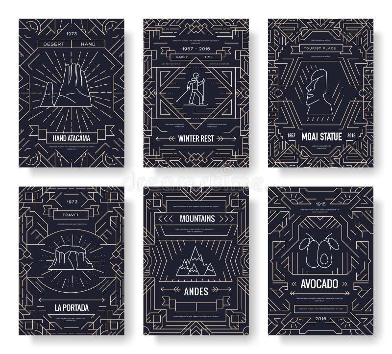 Verdunnen de vector de brochurekaarten van Chili lijnreeks De reismalplaatje van het land van flyear, tijdschriften, affiches, bo vector illustratie