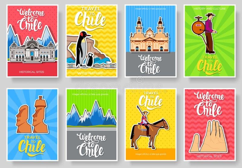 Verdunnen de vector de brochurekaarten van Chili lijnreeks De reismalplaatje van het land van flyear, tijdschriften, affiches, bo royalty-vrije illustratie