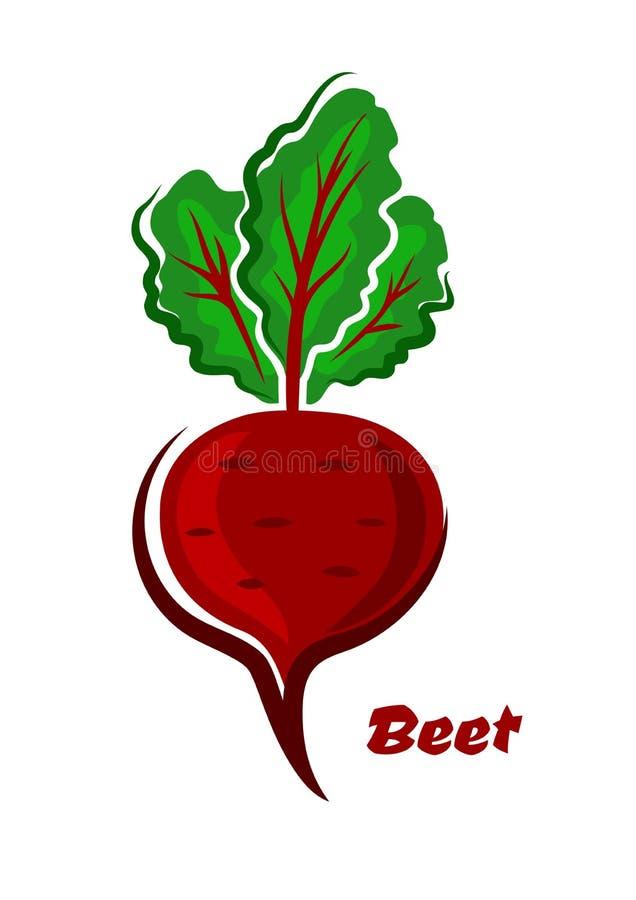 Verdura aislada fresca de la remolacha de la historieta ilustración del vector