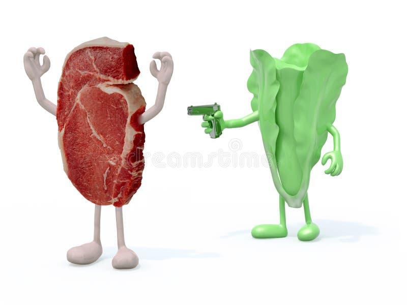 Verdura contra la carne stock de ilustración