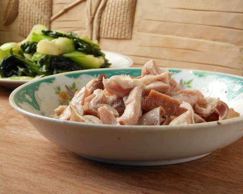 Verdura del estómago del cerdo del Simmer y de choi del pok fotografía de archivo
