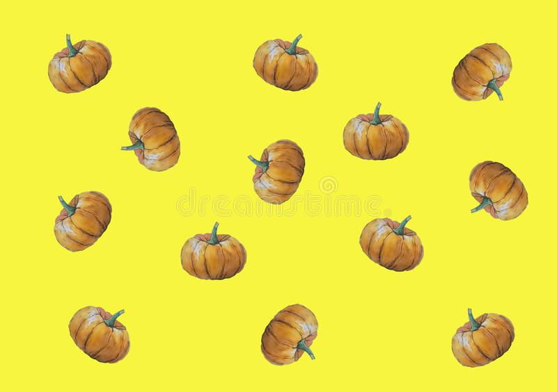 Verdura del otoño de la calabaza de Halloween de la tarjeta del ejemplo de la acuarela stock de ilustración